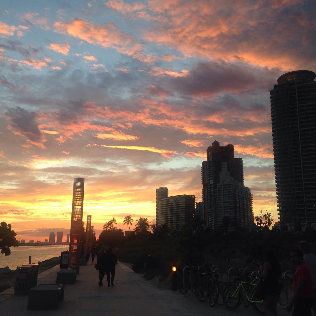 Sunset over Miami Beach sunset miamibeach miami travel sky colorshellip