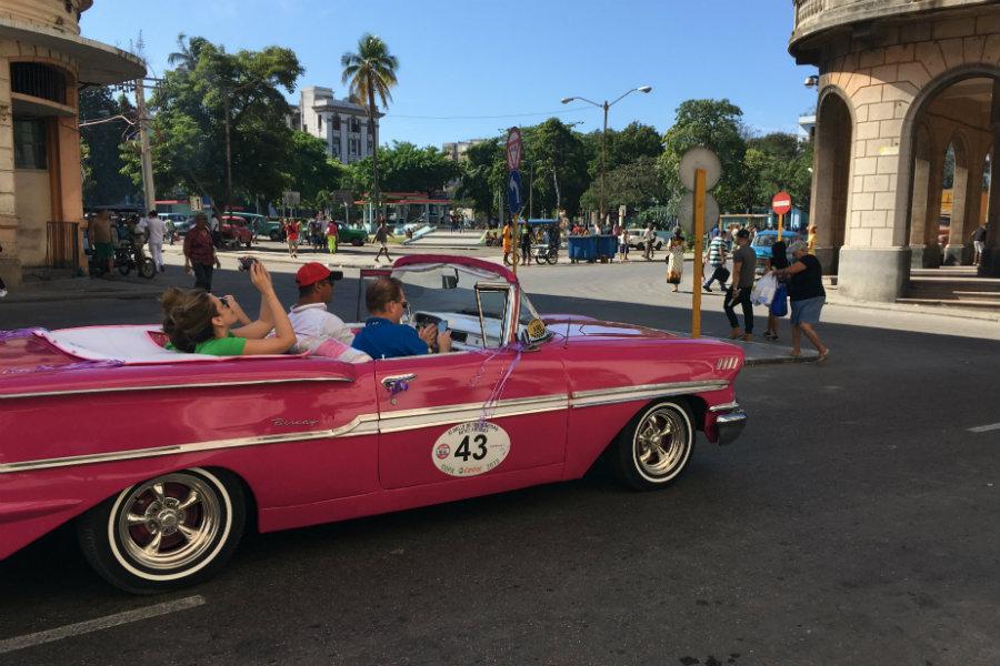 Havana Cuba retro pink car