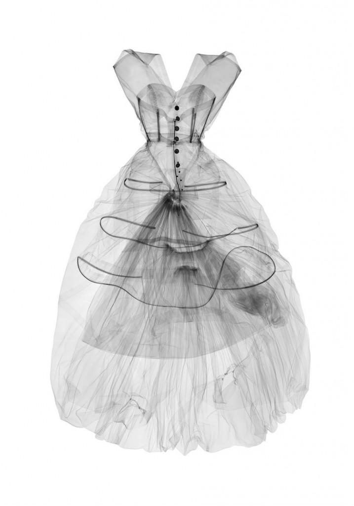 X-ray photograph of evening dress, silk taffeta, Cristóbal Balenciaga, Paris, 1955