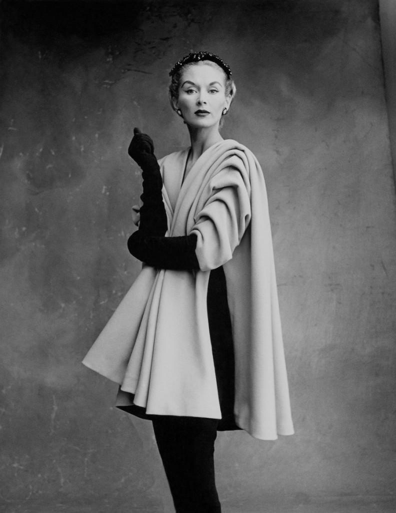 Lisa Fonssagrives-Penn wearing coat by Cristóbal Balenciaga, Paris, 1950