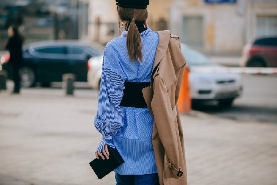 blue streetstyle look Fashion Week Russia