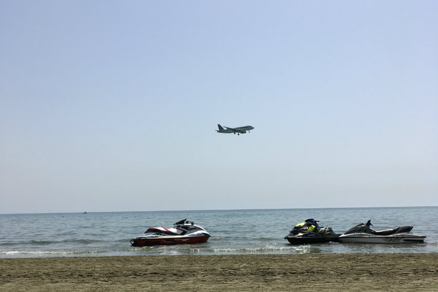 larnaca beach plane