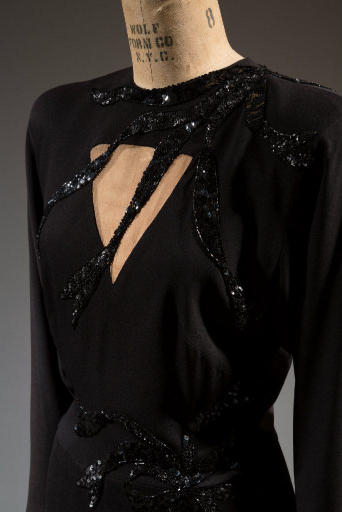Adrian, dress, silk, circa 1945, USA, gift of Maybell Machris.