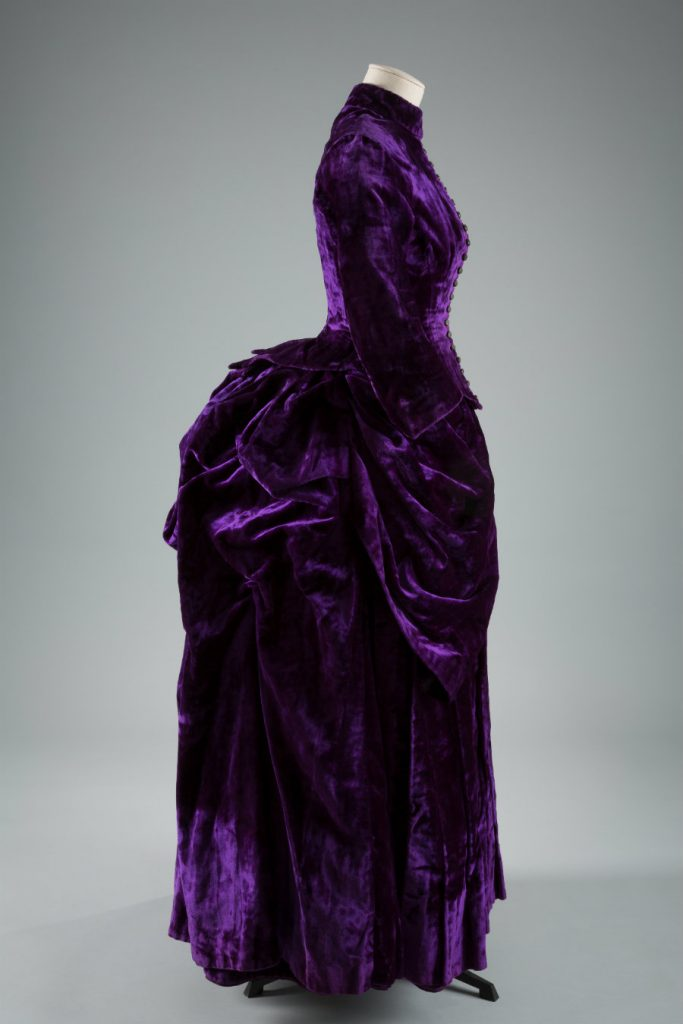 Dress, silk crushed velvet, circa 1887, England, museum purchase.