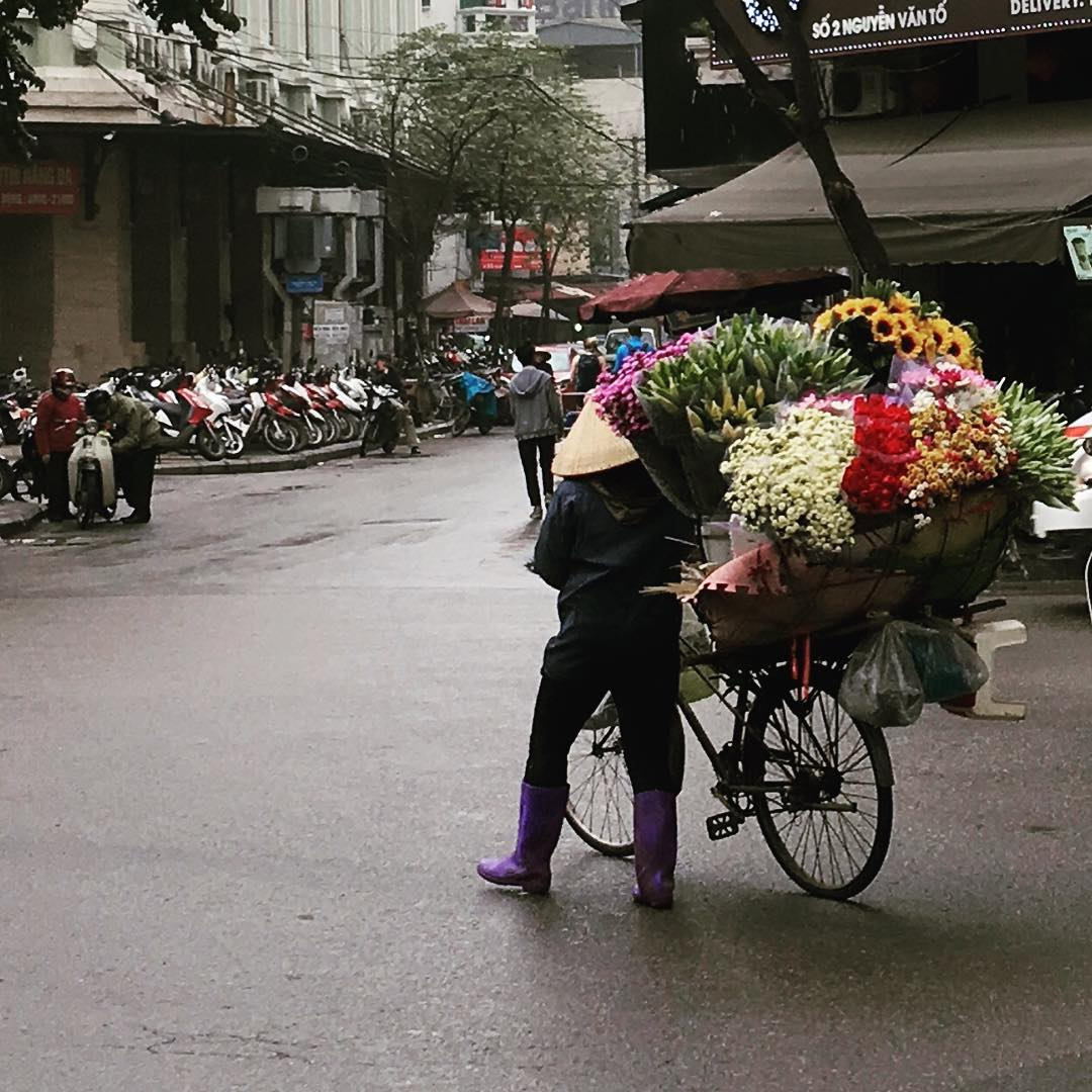 Flowers anyone? Hanoi Vietman TravelerInVietnam travel flowers bike local cityvibeshellip