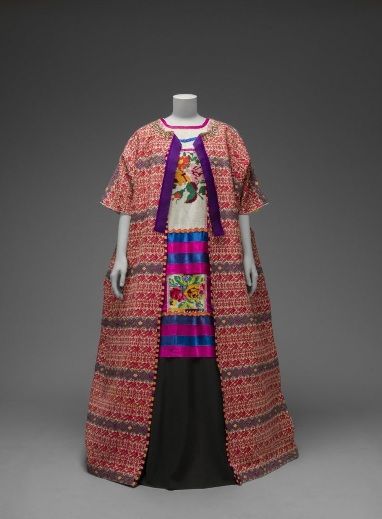 Guatemalan cotton coat worn with Mazatec huipil and plain floor-length skirt