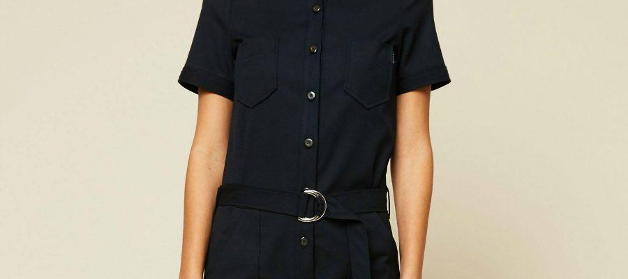 chic jumpsuit denim detail