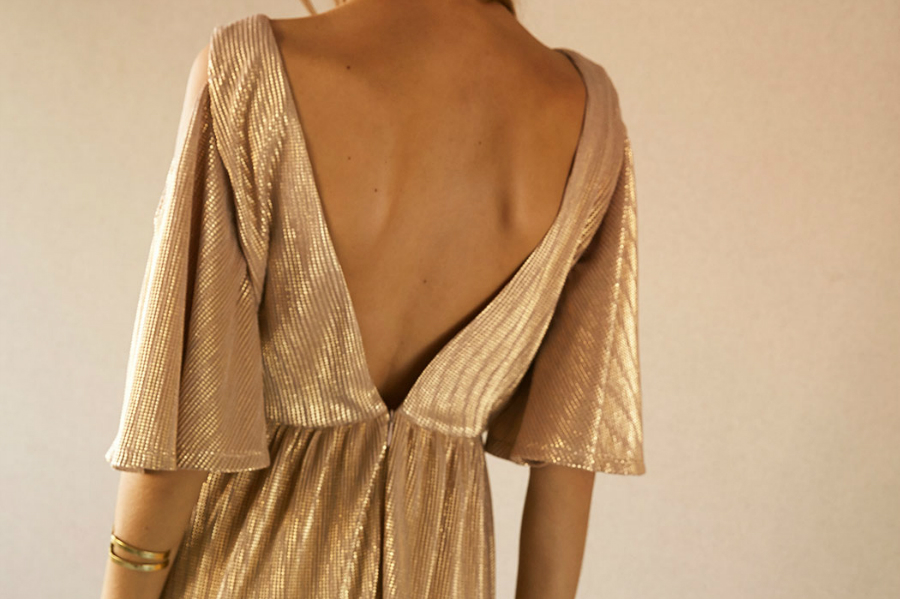 chic paris bucarest dress gold back
